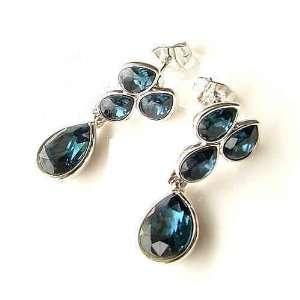 CET Domain SZ16 42 Brides Maids Yula Deep Silver Blue Crystal Earring