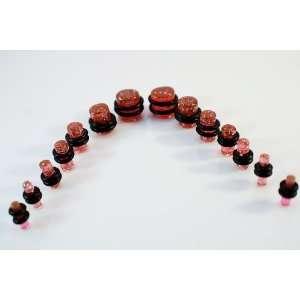 14 Piece Pink Glitter Ear Plug 10G 00G Kit Gauges Set Acrylic Jewelry