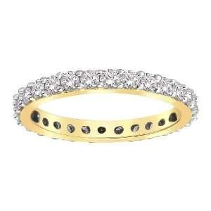 14k Yellow Gold Bead Set Diamond Eternity Ring (1.00 cttw