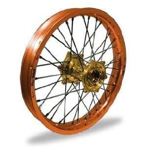 Pro Wheel Supermoto Rear Wheel Set   17x4.25   Orange Rim/Gold Hub 27