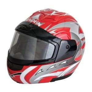 Raider Red Medium Dual Lens Modular Helmet Automotive
