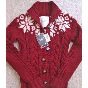 Abercrombie Womens Dark Red/Cream Sweater (size M