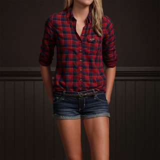 BY Abercrombie Womens Red/Navy Plaid Shirt Top Camisa New Authentic M