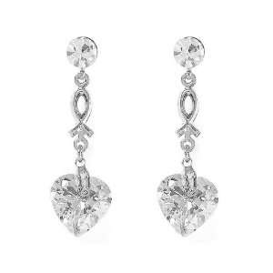 Quality Charming Heart Earrings with Silver Swarovski Crystal (3492