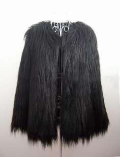 Trendy Black Faux Fur Long Hair Winter Coat Jacket