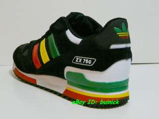 ADIDAS ZX 750 Trainers Black Rasta Suede Nylon running 800 new UK10