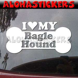 LOVE MY BAGLE HOUND Dog Breed Car Decal Sticker DG93