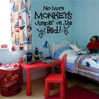 No More Monkeys Jumpin On The Bed Vinyl Wall Decal Stickers Letters