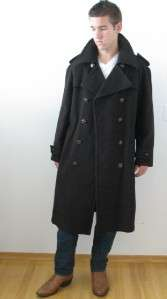 VTG GLOVERALL ENGLAND ZUG LODEN BROWN WOOL MANS SMALL DUFFLE PEA COAT