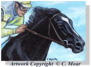 Race Horse Sunday Silence Jockey ACEO Original Art SFA