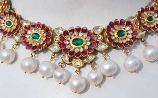 Most Extravagant 22kt solid gold Emerald Ruby Diamond Moghul Necklace