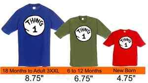 Dr Seuss Thing 1 2 3 4 5 699 Iron on shirt DECAL Transfer