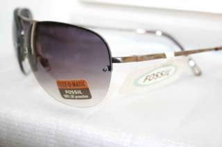 Authentic Fossil Whitney Black Sunglass w/ Metallic Gold Frame & Shade