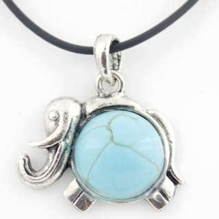 CUTE Silver tone Turquoise Stone BABY ELEPHANT Pendant NECKLACE