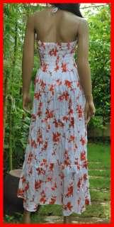 Summer halter Boho beach hawaiian smocked long sundress white&orange S