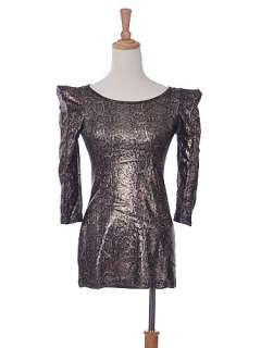 Lady Gaga Monster Inspire Golden Bronze Metallic Puff 3/4 Sleeve Top