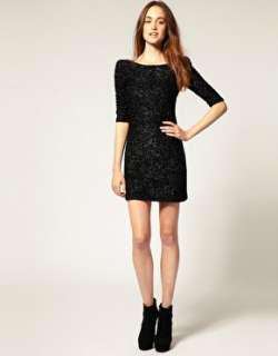 Paillette Amazing Backless Shiny Slim Fit Womens Black Pencil Dress S
