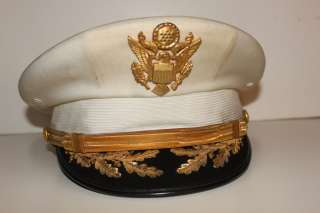 US Army Luxenberg Field Grade Officers Visor Cap White Owned by