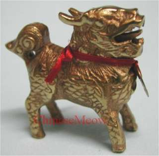 Chinese Feng Shui Golden Brass Chi Lin with Gold Coin