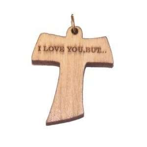 Olive wood Tau Cross Laser Pendant (3.5x3 cm or 1.4x1.2
