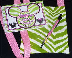 Personalized Disney ZEBRA MICKEY Autograph Book/Bag/Pen