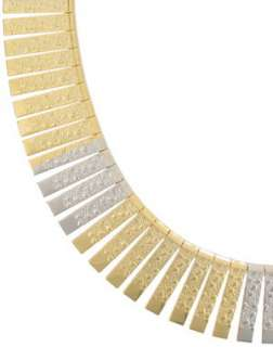 Gold Silver Tone Modernist Ribbed Textured Collar Statement Necklace