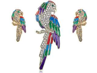 Colorful Green Red Purple Crystal Rhinestone Parrot Brooch Family