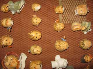 30 colorful Doll heads porcellain 1900 Germany