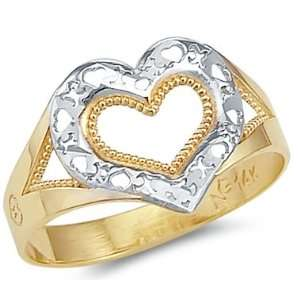 14k Yellow and White Gold Two Tone Heart Love XOX Ring Jewelry