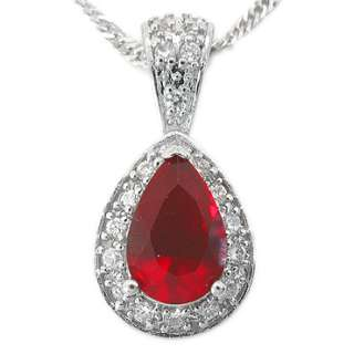 CHRISTMAS GIFT JEWELRY PEAR CUT RED GARNET WHITE GOLD GP RUBY PENDANT