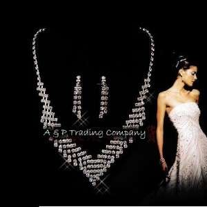 1309 Wedding/Bridal Clear Crystal Necklace Earrings Set