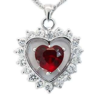 HEART CUT RED GARNET WHITE GOLD GP RUBY PENDANT CHAIN