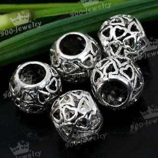 5X Tibetan Silver Heart Drum Charm Spacer Bead 7mm Hole