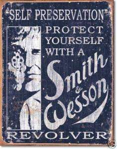 Smith Wesson TIN SIGN Self Preservation Gun metal 1515