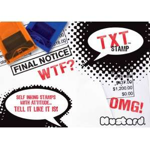 Text TXT Stamps   Self Inking Rubber Stamp   WTF & OMG   GIFTS