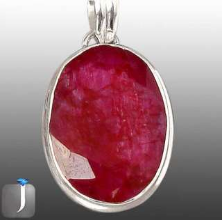 SLEEK RED RUBY OVAL 925 STERLING SILVER SOLITAIRE ARTISAN PENDANT 1 3