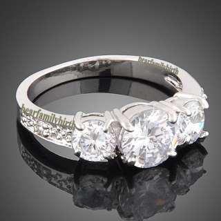18K white GOLD GP Swarovski crystal wedding ring 1769#7,8
