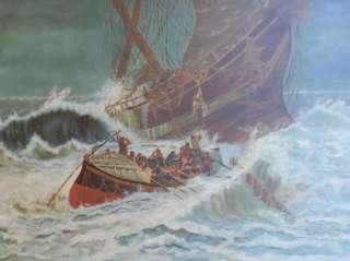 Anique 1800s Huge Original Seascape Sailing Ship Wreck Rescue Oil Ar