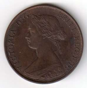 1864 Canada New Brunswick 1 Cent Coin Victoria
