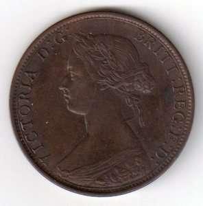 1864 Canada New Brunswick 1 Cent Coin Victoria |