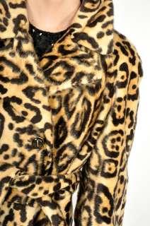 60s Faux Fur LEOPARD SWING Mod Boho Hippie PEA Coat Jacket S/M