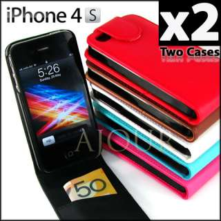 4S 4 4G Leather Flip Case Cover Colourful Card Slot mbs A056