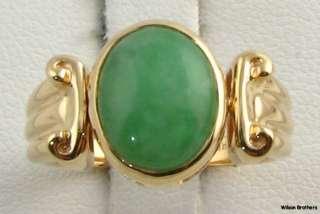 Genuine Green Jadeite Jade Fine Ring   14k Yellow Gold Engravable A+