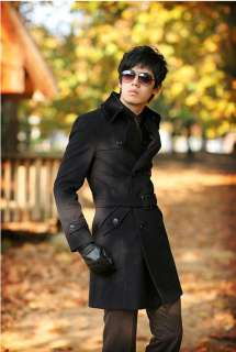 Mens Woolen Double Breasted Long Coat Size Black NEW