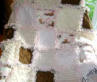 Baby Girl Rag quilt ~pink brown teddy bears & chenille