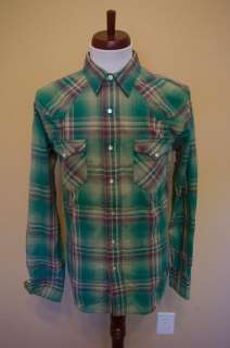 NWT RRL Snap Button Western Green Plaid Shirt Sz S