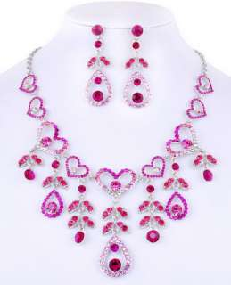 free 6colors lots heart Necklace Earring Set white gold plated W27234