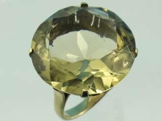 VICTORIAN 10K YELLOW GOLD HUGE 21 CARAT GENUINE TOPAZ RING x