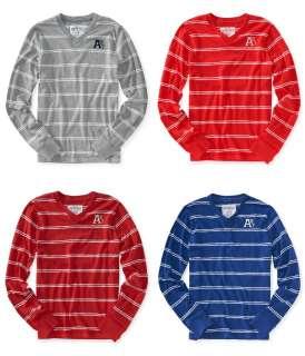 Aeropostale mens v neck striped long sleeve t tee shirt   Style # 2202