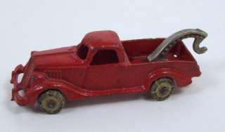 Red Metal Toy Tow Truck Wrecker Rubber Wheels No 2222 Marked
